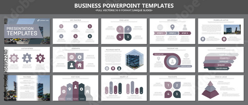 Fotografie, Obraz  Set of purple elements for multipurpose presentation template slides with graphs and charts