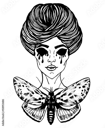 0bc3f0fa3 Art sketch of tattoo - girl and butterfly. Gothic style is the trendy  direction of tattoos.