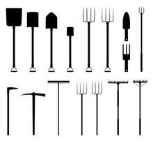 Gardening Tools Silhouettes