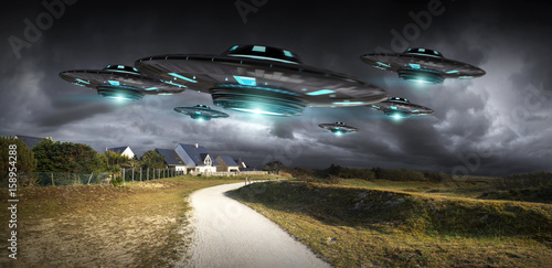 UFO invasion on planet earth landascape 3D rendering плакат