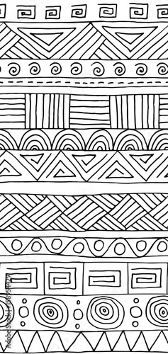 Seamless vector pattern. Black and white geometrical background with hand drawn decorative tribal elements