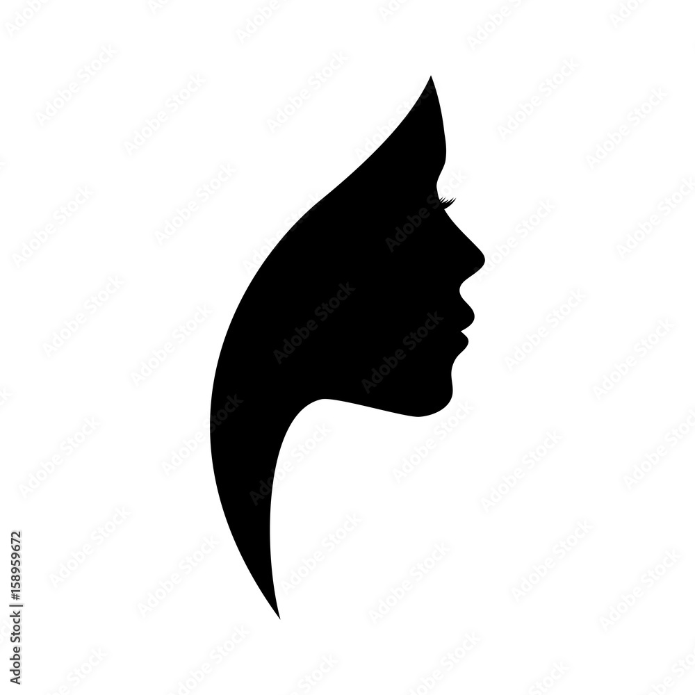 Fototapeta Beautiful woman profile silhouettes with elegant hairstyle, vector young female face design, beauty girl head with styled hair, fashion lady graphic portrait.