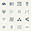 Machine Icons Set. Collection Of Analysis Diagram, Wireless Communications, Atomic Cpu And Other Elements. Also Includes Symbols Such As Gear, Solution, Linked.