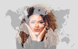 Double exposure of lovely woman giving kiss and world map