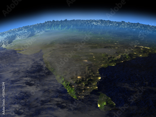 Fotografie, Obraz  Indian subcontinent from space on early morning
