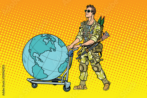 Photo Military tourism, the mercenary with a cart Earth