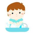 Cute boy washing hands in Washbasin vector.