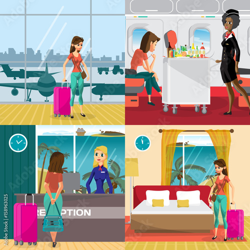 Fototapeta Travel to the warm regions concept banners. Airport, plane, hotel room. A woman on vacation comes to the beach. Vector flat cartoon illustration obraz na płótnie