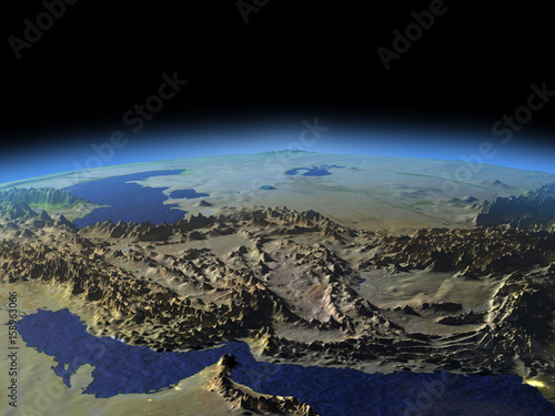 Fényképezés  Iran and Pakistan region from space on early morning