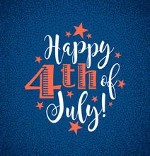 Retro Happy 4th Of July Typogr...