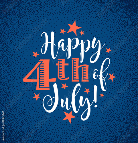 Fotografia  Retro Happy 4th of July typography design for greeting cards, web page banners,
