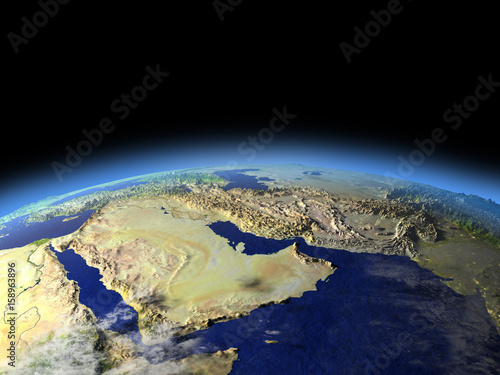Arab Peninsula from space on early morning Canvas Print