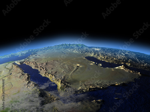 Vászonkép  Arab Peninsula from space on early morning
