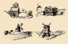 Hand Drawn Old Rustic Mills Im...