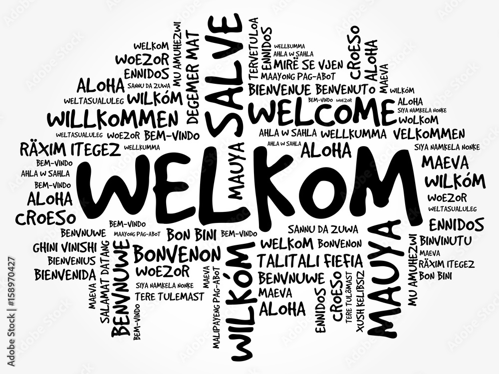 Fototapeta Welkom (Welcome in Afrikaans) word cloud in different languages, conceptual background