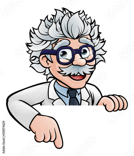 Scientist Cartoon Character Pointing Down Canvas Print