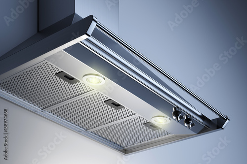 Fotomural  Kitchen hood in the interior with spotlights