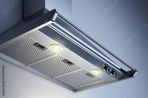 Fényképezés  Kitchen hood in the interior with spotlights
