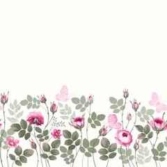 Panel Szklany Na szklane drzwi i okna seamless floral border with roses