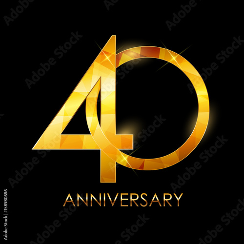 Poster  Template 40 Years Anniversary Congratulations Vector Illustratio