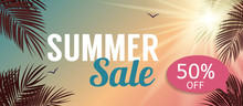 Summer Sale Banner Template For Your Business. Vector Illustrati