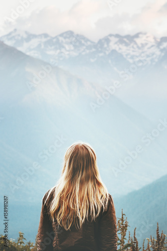 Obraz Blonde Woman enjoying mountains landscape Travel Lifestyle wanderlust concept adventure summer vacations outdoor girl traveler in harmony with nature - fototapety do salonu