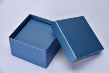Blue Empty Gift Shopping Box Photography At Clear Background