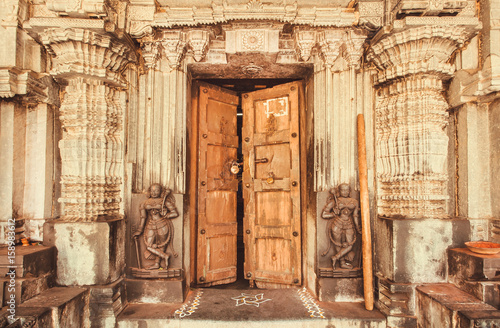 Indian Traditional Style Design At Entrance Of Historical Hindu Temple With Collumns And Sculptures India Buy This Stock Photo And Explore Similar Images At Adobe Stock Adobe Stock