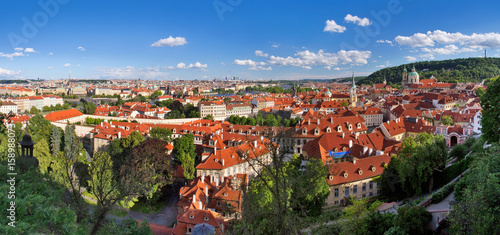 Staande foto Praag cityscape panorama of prague with red roofs, czech republic