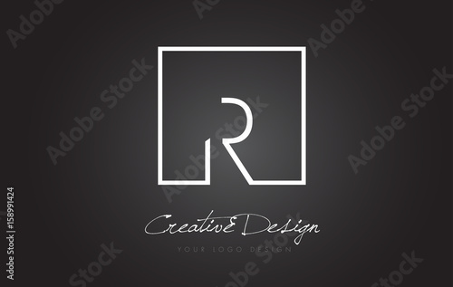 Photo  R Square Frame Letter Logo Design with Black and White Colors.