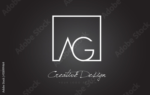 Photo AG Square Frame Letter Logo Design with Black and White Colors.