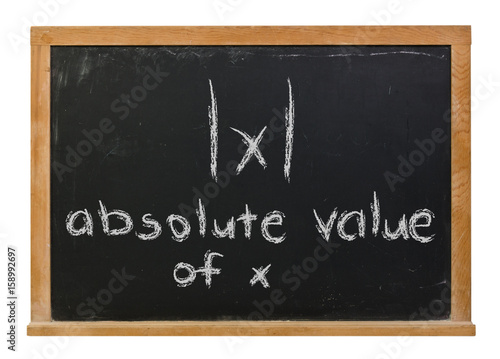 Absolute Value and symbol written in white chalk on a black chalkboard isolated Canvas Print