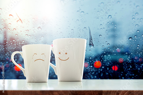 Encouragement concept, Friend of Coffee Mug with Sadness crying face cartoon and Wallpaper Mural