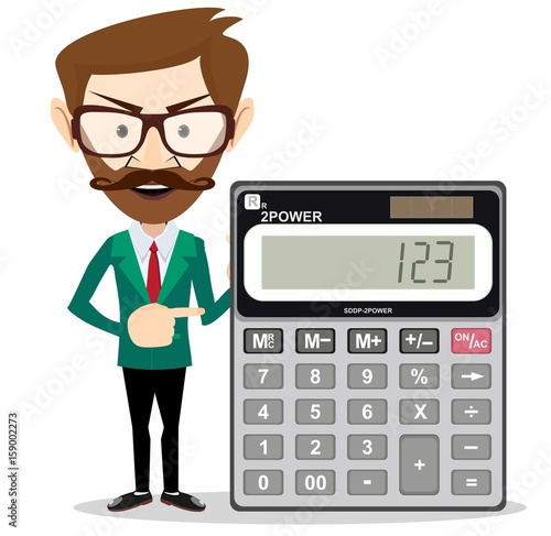 Mathematical Man Holding Calculator With Expression In A Financial Solution Concept