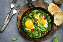 Green Shakshuka In A Cast Iron...