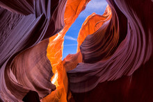Beautiful View Of Amazing Sandstone Formations In Famous Lower Antelope Canyon Near The Historic Town Of Page At Lake Powell, American Southwest, Arizona, USA