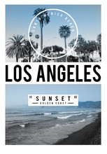 Photoprint Los Angeles Tee Shirt Graphic Sunset Typography