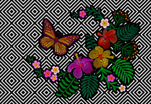 Hawaii Flower Embroidery Trend Geometric Black White Stripe. Fashion Print Decoration Plumeria Hibiscus Palm Leaves. Tropical Exotic Blooming Bouquet Butterfly Vector Illustration
