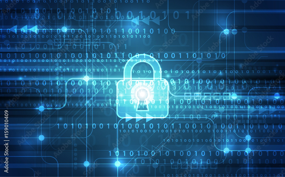 Fototapeta Abstract technology security on global network background, vector illustration