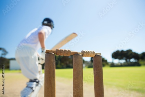 Fotomural Close up of wooden stump by batsman standing on field