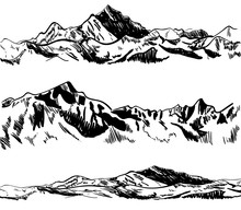 Outline Drawings, Mountains. Nature Sketch. VECTOR Illustrations Set. Black Contour.