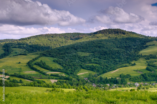 Scenic landscape of the countryside near alpine mountains. View of green hills covered by trees. Summer natural background. Sunlight shines through the trees.