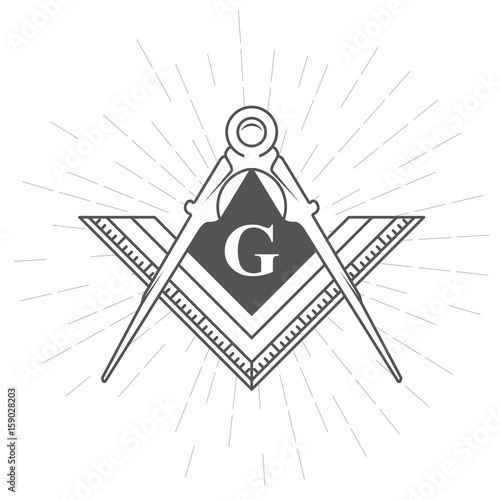 Fotografia, Obraz  Freemason symbol - illuminati logo with compasses and ruler