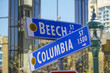 Street signs in San Diego - Beech Street and Columbia - SAN DIEGO - CALIFORNIA - APRIL 21, 2017
