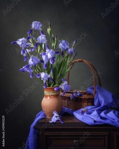 Fototapeta Still life with blue iris flowers obraz