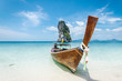 Longtailboat on a beach in the andaman sea