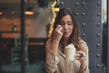 Woman Drinking Mocha Coffee