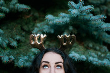 A Young Woman Wearing Reindeer Ears