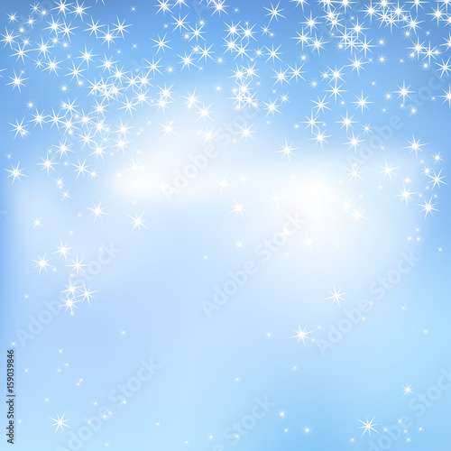blue sky abstract background with clouds and stars magical new year christmas event style