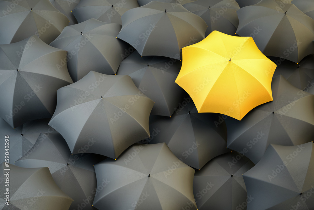 Fototapeta Individuality and difference concept, top view of unique yellow umbrella standing out from the gray crowd